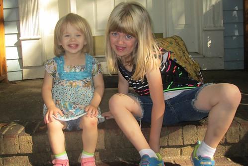 Lucy is 2 years old & it's Catie's last day of kindergarten