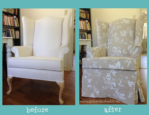 Before and After Wing Chair Slipcover
