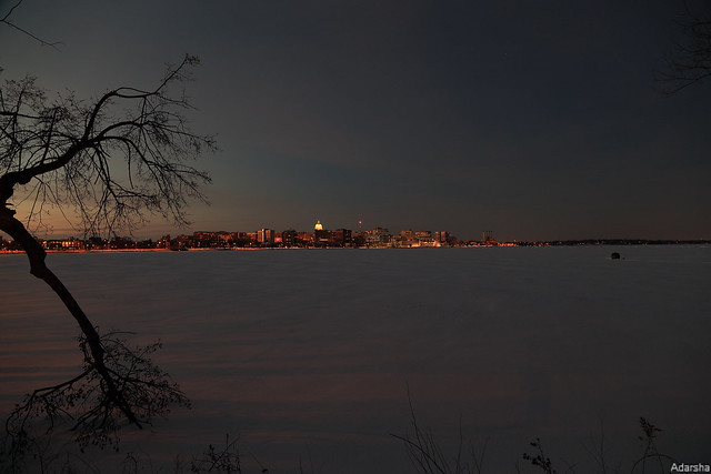 Frozen Lake Manona after Dark