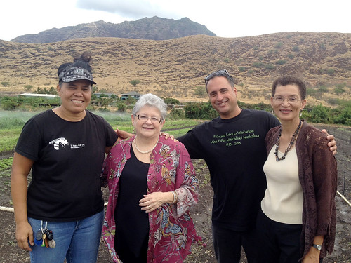 <p>UH President M.R.C. Greenwood and UH West O'ahu Vice Chancellor for Academic Affairs Linda Randall visit MA'O Organic Farms.</p>