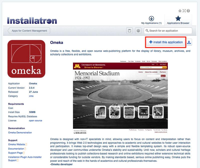 Omeka install page