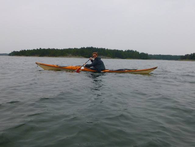 Sam sea kayaking in the Archipelago Sea.