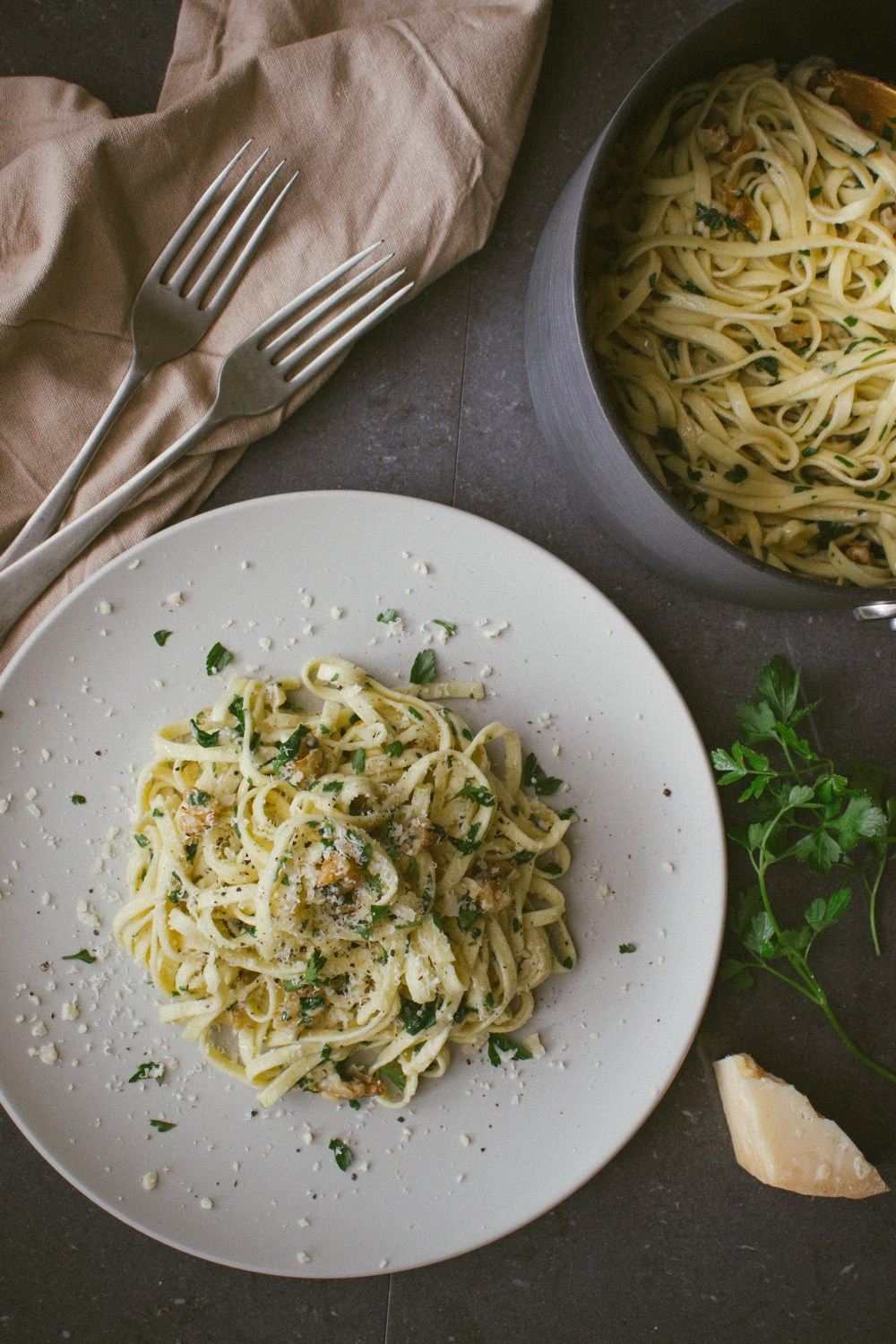 Walnut, Parsley and Parmesan Linguine | Simple Provisions