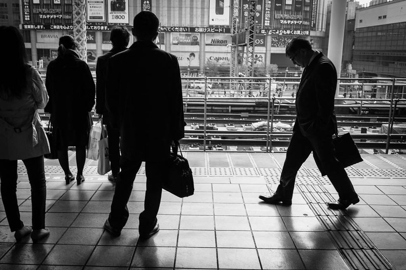 Going to work - on the platform of Akihabara station, Tokyo