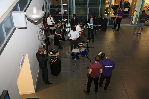 Leeds Met students filming at the O2 Media Awards. Photo copyright of Thomas Gadd.