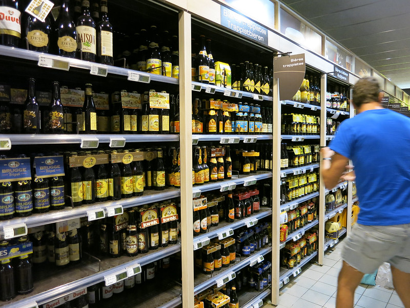 The beer aisle in a Belgian supermarket.