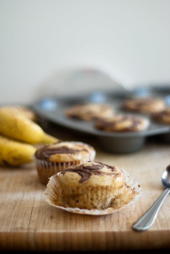 Banana cupcakes (oil) vertical