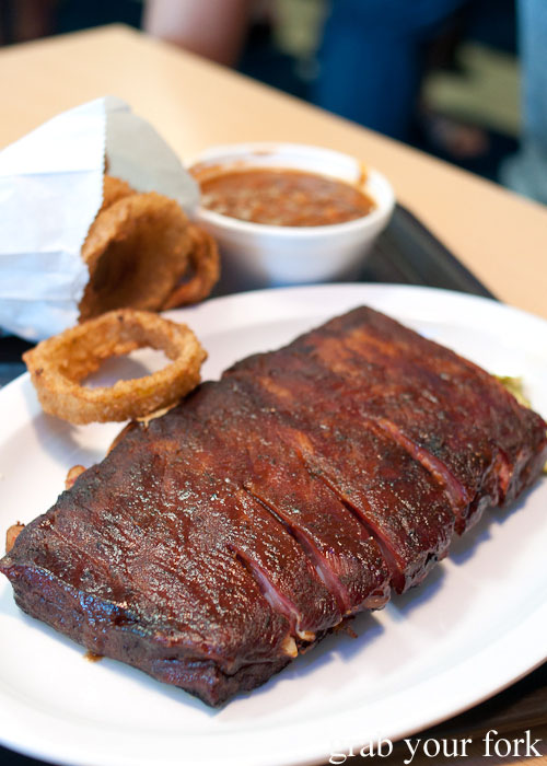 pork rib half slab bbq beans Oklahoma Joe's meat smoked barbecue bbq Kansas City Missouri