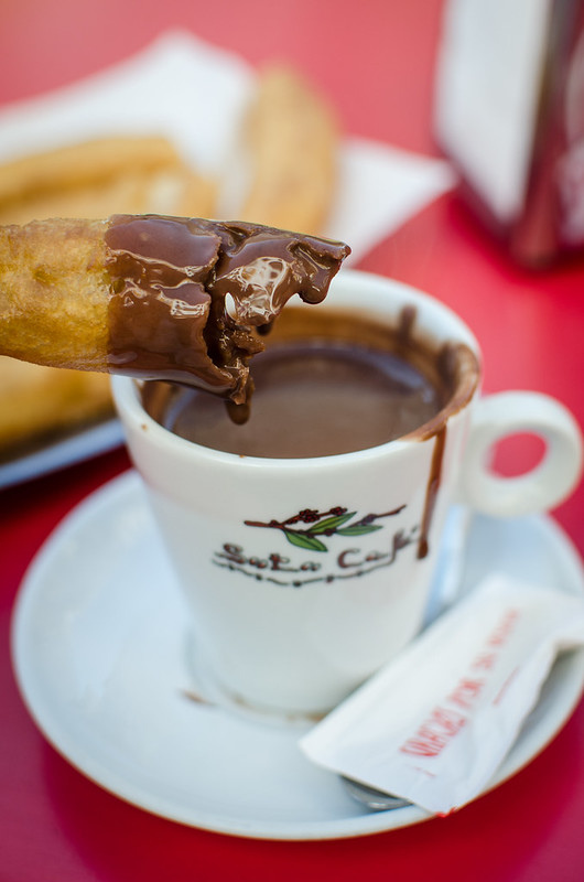 Churros and chocolate, a perfect pair, Sevilla's breakfast of champions.