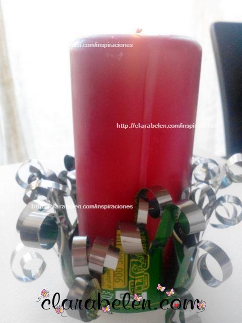 DIY portavela con reciclaje hecha con latas de refrescos