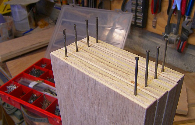 Nails to support shelves for finishing