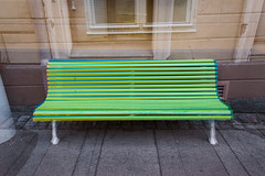 Three Benches Of Different Colours