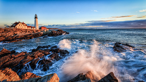 usa lighthouse sunrise canon day unitedstates maine places clear northamerica 169 phl 6d capeelizabeth portlandhead 16x9widescreen