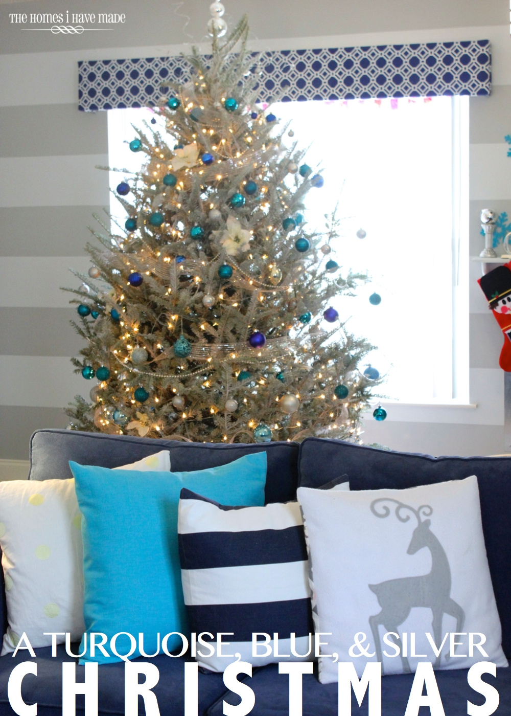 blue and silver christmas holiday living room 2013 001