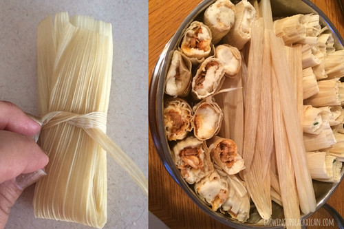 wrap and stack tamales for cooking