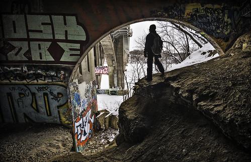 city bridge urban snow streetart cold art ice minnesota river underground graffiti frozen stencil stpaul minneapolis tunnel tags explore cave twincities mn