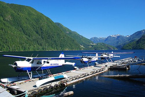 Floatplanes in Muchalat Inlet, Gold River, Central Vancouver Island, British Columbia