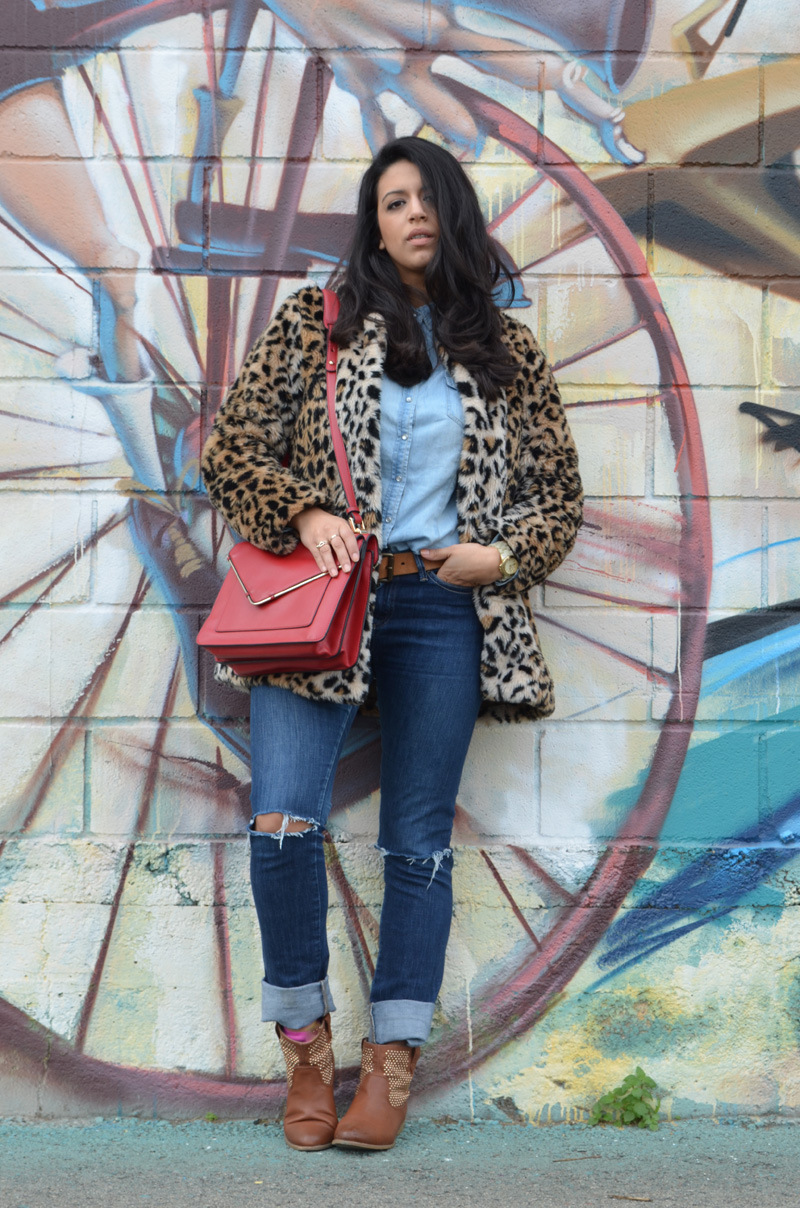 florenciablog coat animal print and total look denim redboxbag  (10)