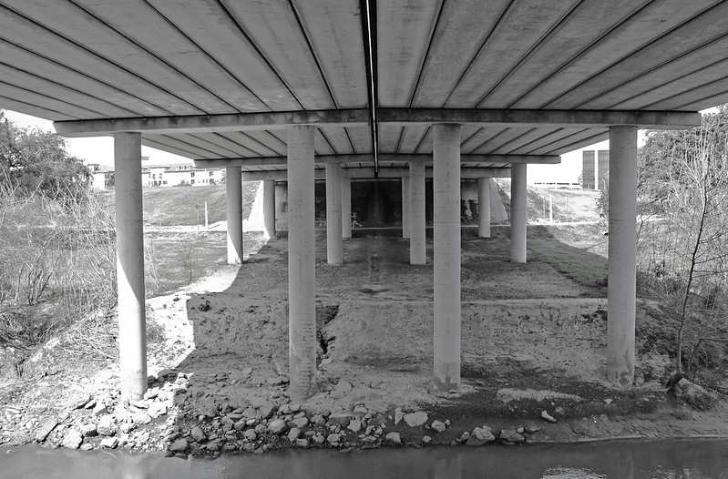 Waugh Drive Bridge over Buffalo Bayou, Houston, Texas 1402151234bw