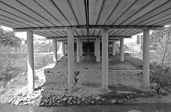 Waugh Drive Bridge over Buffalo Bayou, Houston, Texas 1402151234bw