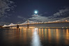 Full moon over Bay Bridge