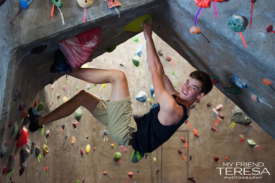 my friend teresa photography, cary academy senior portrait, rock climbing portrait