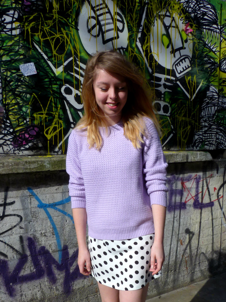 Lavender pastel purple knit | Polka dot shift dress
