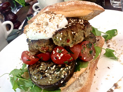 sandwich, meal, lunch, breakfast, vegetable, meat, veggie burger, food, dish, cuisine, falafel,