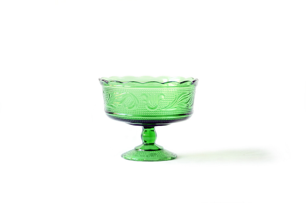Vintage Green Glass Compote Bowl