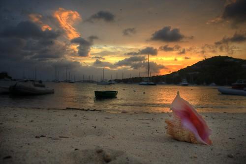 ocean sunset sea hot beach water sunrise island islands earth shell stjohn caribbean conch virginislands usvi greatcruzbay westinstjohn