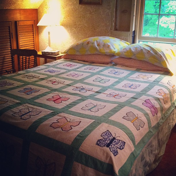 "I'll never understand the act of hiding things away to ""save for special"". Everyday is special. I found the cheery pillowcases and quilt in the #farmhouse linen cupboard. Uncle Sam will be here tomorrow. He probably likes butterflies. #homestead"