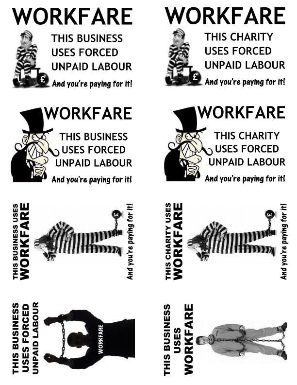Anti-workfare protest stickers template 2013