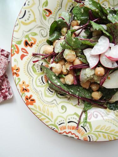chickpea, baby beet greens, radish salad // scape hemp seed pesto