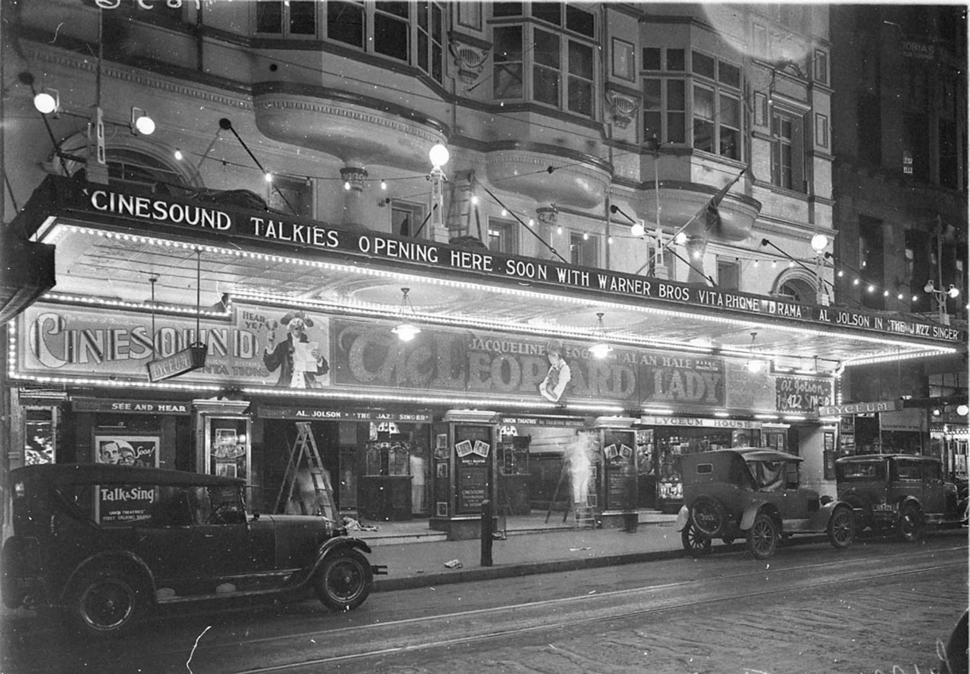 Front of the Lyceum Theatre at night, Sydney [late 1928] with Jaqueline Logan and Alan Hale in