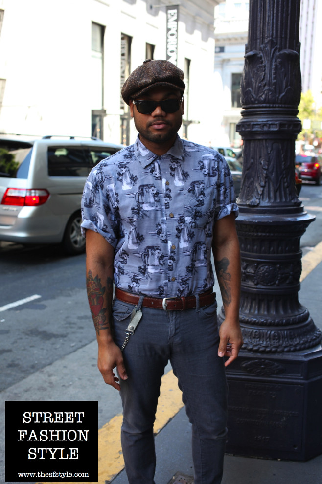 tweed hat, tweed cap, print shirt, man morsel monday, sfstyle, thesfstyle, street fashion style, san francisco fashion blog,