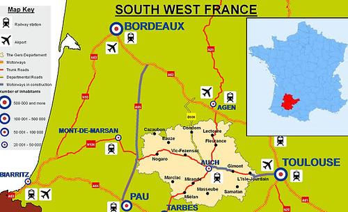 Mapa de Gers (Francia)