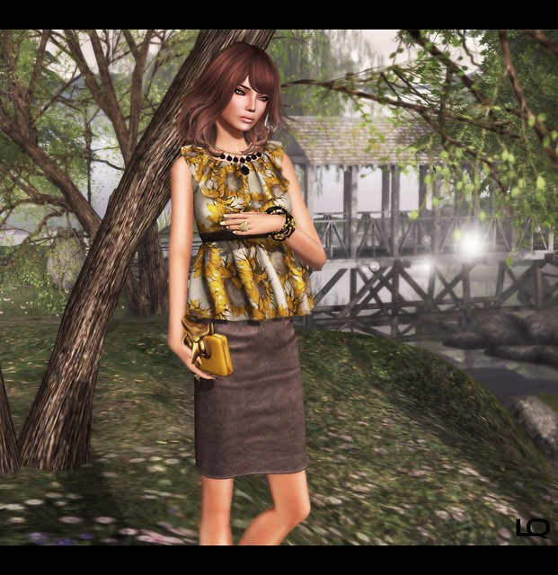 C88 July -The Secret Store - Elsa Ruffle Shirt - Sunflower & Milk Motion Clutch and -Belleza- Ashley SK BBB 2