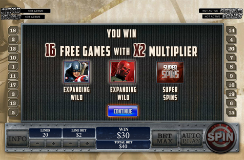 free Captain America - The First Avenger free spins