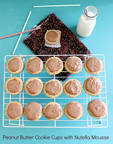 Peanut Butter Cookie Cups with Nutella Mousse