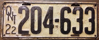 ONTARIO 1922 LICENSE PLATE.LONG