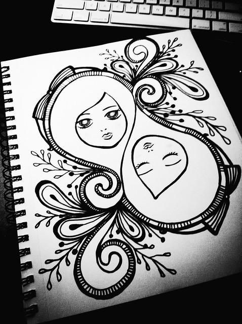 満月 自己発見 /Full moon doodling