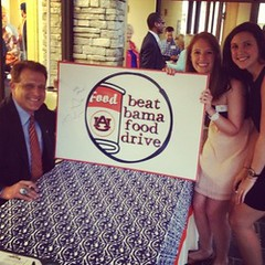 Beat Bama Food Drive Staff at the Wire Grass Alumni Club Meeting with Gus Malzahn
