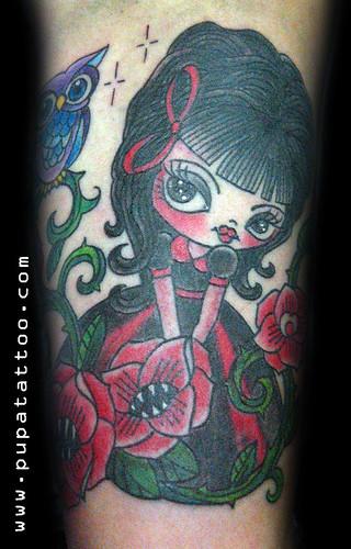 Tatuaje Muñeca Buho, Pupa Tattoo Granada by Marzia PUPA Tattoo
