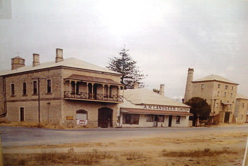 Milang. Photo from the Milang railway station museum of Landseers big warehouses during the river boat trading days of the 19th century in Milang. Now all these buildings are gone.