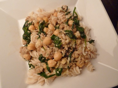 Chickpea, Sausage and Spinach Pasta