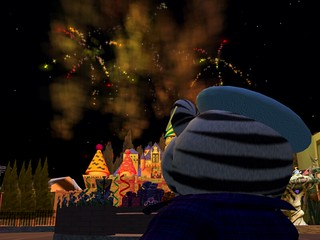 I watch the fireworks at Magic Land