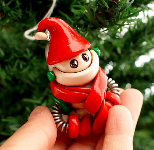 Snowbot Sax Robot Christmas Ornament by HerArtSheLoves