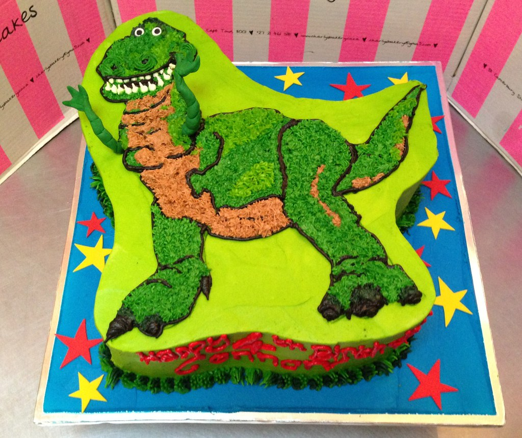 flat cut-out rex the dinosaur shaped cake toy story