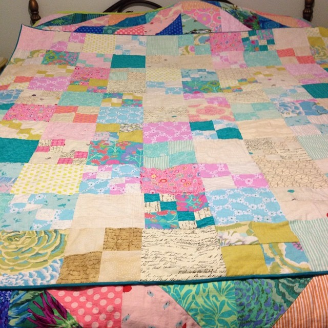 Moms new Christmas quilt, on top of last year's Christmas quilt. #nofilter #pennypatchqal