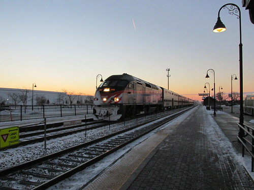 Northbound Metra local commuter train arrives at Daybreak.  Glenview Illinois.  Thursday, December 26th, 2013. by Eddie from Chicago